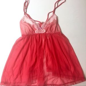 🆕 Victoria's Secret Red and Pink Lace Babydoll